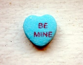 5x7 Art Photography - Be Mine Blue Candy Heart Art Photograph, Valentines Art, 5x7