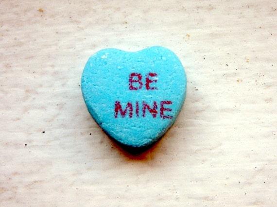 5x7 Art Photography - Be Mine Blue Candy Heart Art Photograph, Valentines Art, 5x7