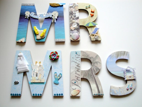 Wedding Wall Letters, Mr. and Mrs. Letters, Destination Beach Wedding Decor, Wall Decoration, Wedding Shower Decor Personalized Gift,