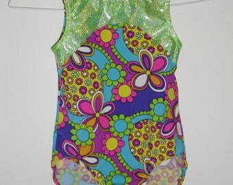 Girls neon colored floral leotard in any size