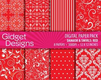 Red Digital Paper Pack Damasks Instant Download Printables Red Damask Scrapbooking Paper