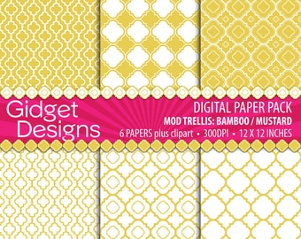 Yellow Mustard Digital Paper Pack Quatrefoil Scrapbook Paper Bamboo Mustard Yellow Clipart Free for Commercial Use