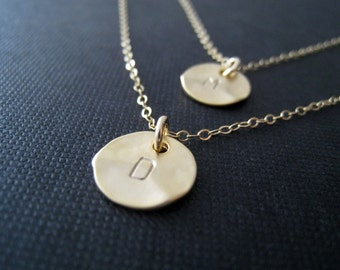Personalized layer necklace, two initial double chain necklace, hand stamped initial jewelry