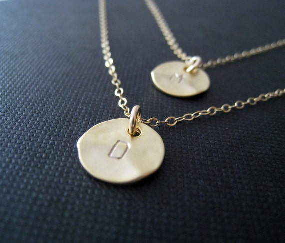 Layered initial necklace, hand stamped gold disc, personalized mommy and me necklace, gift for her, hammered coin