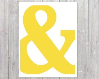 Ampersand Symbol Typography Digital Print  - Yellow Lemon Zest - Modern Wall Art Spring Summer Home Decor - Wedding - Under 20