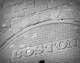 Boston Photography, Boston Art, Dorm Room Decor, Wall Art, Office Decor, Boston Prints, New England Scene, Urban Photography, Manhole Cover