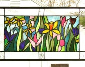 "Spring Flower Garden--13.5"" x 23""--Stained Glass Window Panel--"
