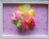 Hair Bow---MINI Funky Fun Over the Top Bow---Pink, Lime, Yellow