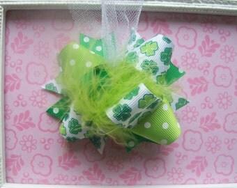 Hair Bow---MINI Funky Fun Over the Top Bow---St. Patricks Day---Green Shamrocks