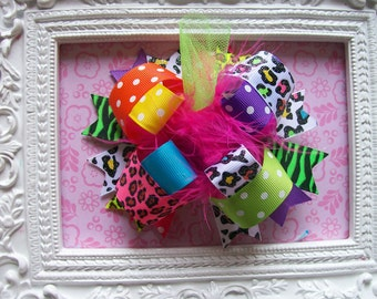 Hair Bow---FULL Size Funky Fun Over the Top Bow----Multi Colored Cheetah/Zebra
