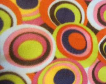 Circles inside Circles on Brown with Pink Fleece Blanket - Ready to Ship Now