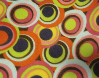 Circles inside Circles on Brown with Blue Fleece Blanket - Ready to Ship Now
