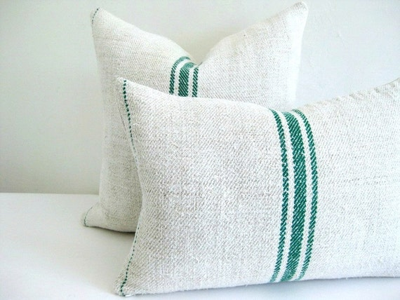 Pillow Cover European Grain Sack Green Stripes 12 x 18