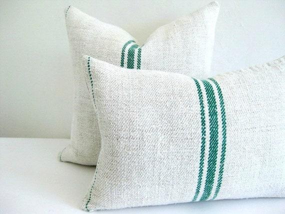 Pillow Cover European Grain Sack Green Stripes 12 x 18
