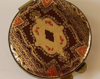 Fabulous Vintage 1960s Florentine COMPACT...Gold Embossed