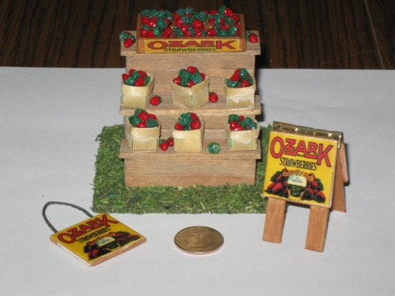 Dollhouse Miniature Handmade OZARK Strawberry STAND and accesories Set of 18