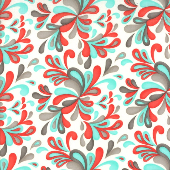 Red Aqua and Grey Paisley Fabric Flirt By Sandy Gervais For