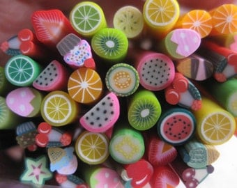 10 Pcs Polymer Clay Canes in Fruit and Yummy Desert Mix Designs