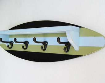 Black, Pale Blue and Green Surfboard Shelf Coat Rack 28""