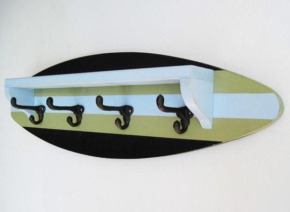 "Black, Pale Blue and Green Surfboard Shelf Coat Rack 28"""