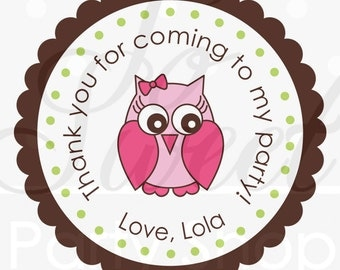 24 Owl Birthday Stickers - Girls Birthday Decorations - Woodland Birthday, Owl, Forest Theme Birthday