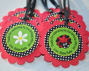 12 Ladybug Birthday Favor Tags - Girls Birthday Party - Personalized Party Decorations - Red, Green, Black