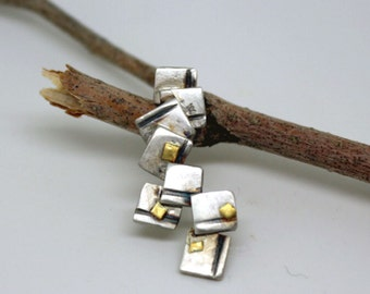 Geometric sterling silver and 22k gold pendant  abstractv modern OOAK pendant