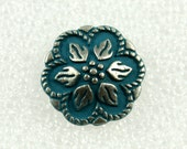 Wholesale - Metal Buttons - Lot 50 Darkturquoise Painting Peperomia Leafs Gunemtal Patel Edge Buttons. 0.67 inch
