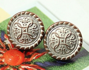 Metal Buttons - Islamic Flower Metal Buttons , Copper White Patina Color , Shank , 0.51 inch , 10 pcs