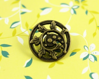 Metal Buttons - Fern Crozier Metal Buttons , Antique Brass Color , Openwork , Shank , 0.71 inch , 10 pcs