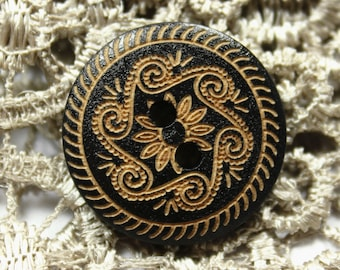 Black Wood Buttons - Vintage Scrollwork Pattern Wooden Buttons, 0.79 inch. 10 in a set