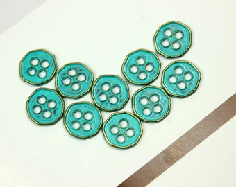 Metal Buttons - Heptagon Teal Blue Metal Buttons , 4 Holes , 0.43 inch , 10 pcs