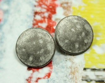 Metal Buttons - Gray Metal Buttons , Shank , 0.71 inch , 10 pcs