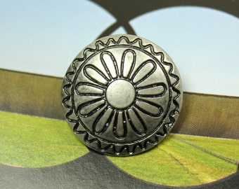 Metal Buttons - Daisy Carving Metal Buttons , Nickel Silver Color , Shank , 0.83 inch , 10 pcs