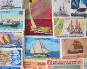 Lost At Sea 50 Vintage Postage Stamps Nautical Ships Boats Ocean Navy Marine Maritime Sailor US Worldwide Sailing Honeymoon Philately