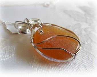 Honey Amber Beach Glass/Seaglass Wire Wrapped Pendant STERLING SILVER
