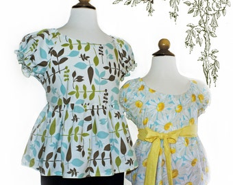 Instant Download PDF Sewing Pattern Alexa Top Girls size 6 8 10 12 14 boutique Easy Sew