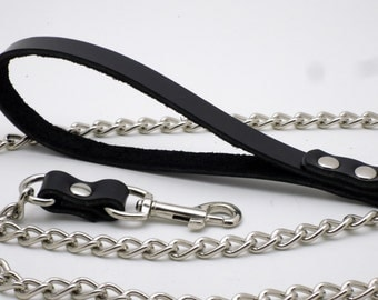 """Leather and chain leash - Black leather and nickel chain 47"""" - Free US Shipping"""