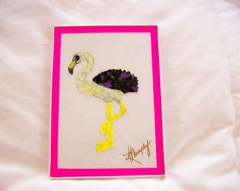 "Real  Butterfly Wings Framed ""Flamingo"" Collage"