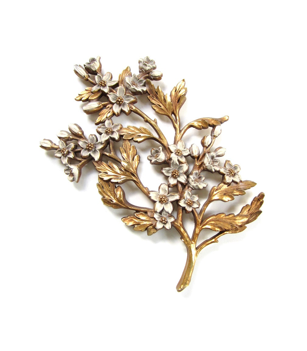 Vintage syroco resin dogwood floral branch wall hanging decor for Resin wall art