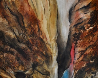 Large Original watercolor painting - Canyon Abstract