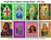 Digital Collage Sheet Virgin Mary Aceo/ATC