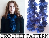 Ruffle Scarf PATTERN - INSTANT Download How to Crochet a Lace Ruffle Scarf, using Sashay Yarn, PDF download sent by email
