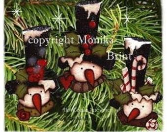 Hot Cocoa Snowmen-Christmas Ornaments-Snowman Ornaments-Primitive-Holiday Decor