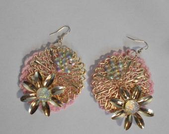Pink Crochet Earrings-Crochet Earrings-Round Earrings-Flower Earrings-Dangling Pink Earrings