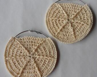 Beige Crochet Earrings,Cream Colored Crochet Hoops,Beach Jewelry,Hoop Earrings