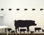Pig Wall Decals - Farm Life, Farm Animal Wall Decals, Barnyard Animals, Country Decor, Rustic Farm Decor, Decor