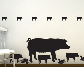 Pig Wall Decals - Farm Life, Farm Animal Wall Decals, Barnyard Animals, Country Decor, Rustic Farm Decor, Barnyard Birthday