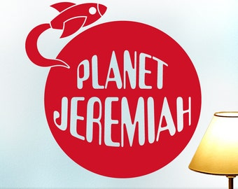 Fun Nursery or Playroom Decor, Custom Name Outer Space Planet and Spaceship Wall Decal [Shown: Jeremiah in Cardinal Red] (0171d0v)