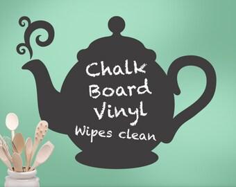 Teapot Kitchen Decor Chalkboard - Chalkboard Vinyl Decal for the Kitchen - Decorative Chalkboard Teapot Silhouette